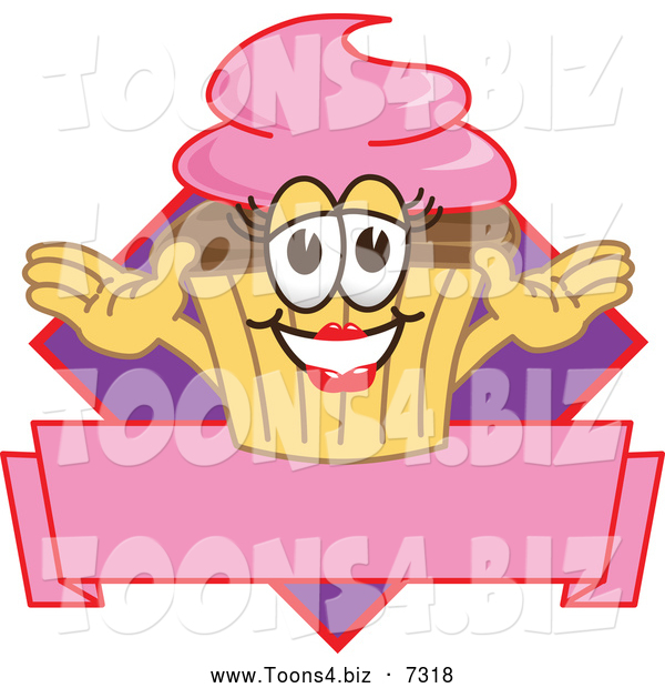 Vector Illustration of a Happy Female Cupcake over a Banner