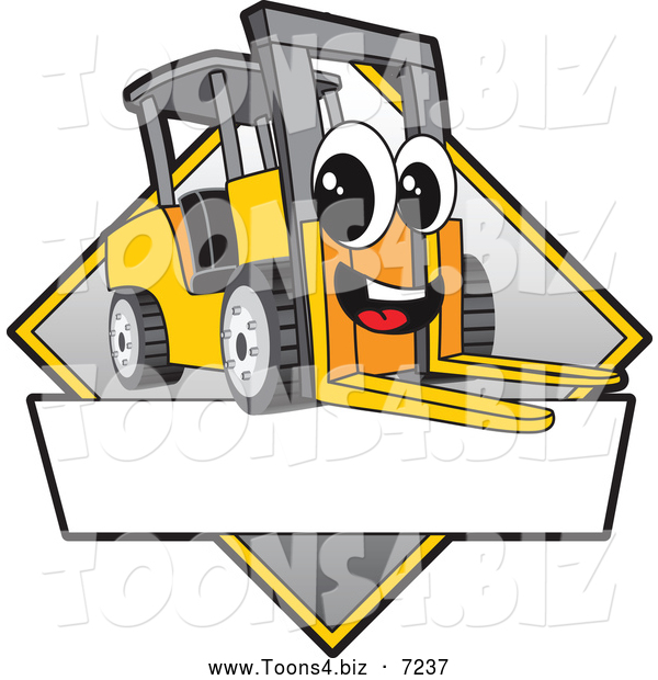 Vector Illustration of a Happy Forklift Mascot Character Sign or Logo