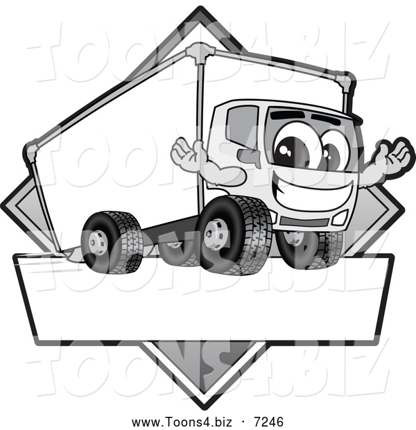 Vector Illustration of a Happy Grayscale Delivery Big Rig Truck Mascot Character Sign or Logo