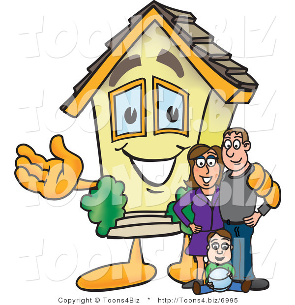 Vector Illustration of a Happy Home Mascot Beside New Family