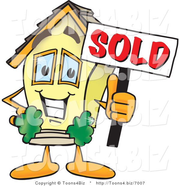 Vector Illustration of a Happy Home Mascot Holding Sold Sign