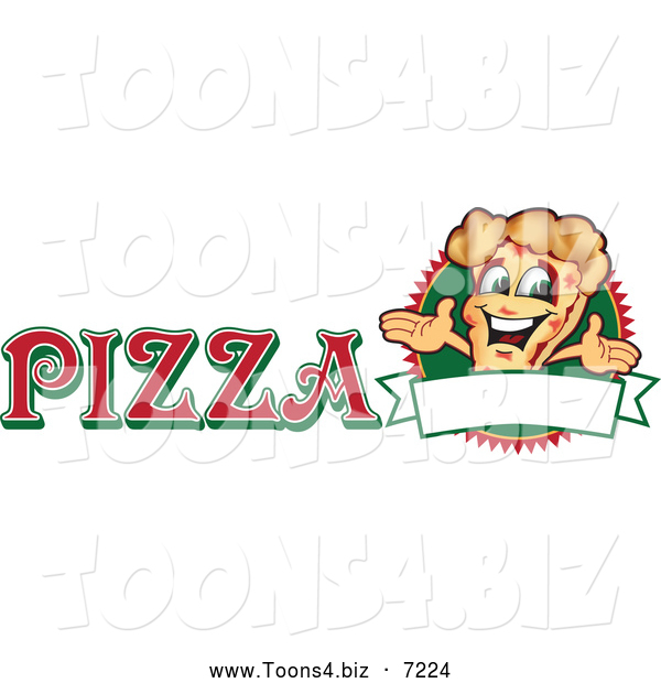 Vector Illustration of a Happy Pizza Mascot Character Sign or Logo 3
