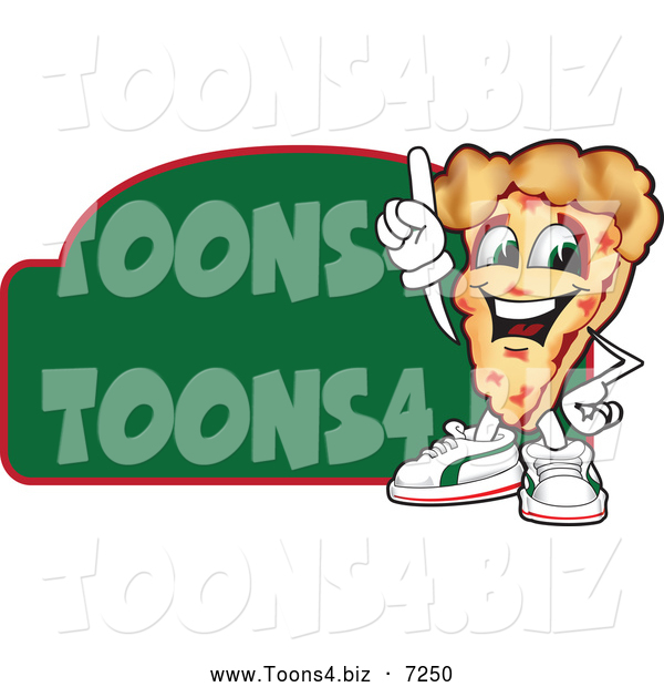Vector Illustration of a Happy Pizza Mascot Character Sign or Logo 5