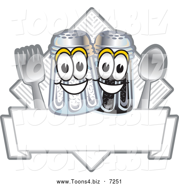 Vector Illustration of a Happy Salt and Pepper Shaker Cutlery and Napkin Mascot Characters Diner Sign or Logo