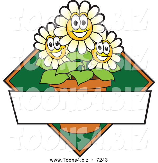 Vector Illustration of a Happy White Daisy Flower Mascot Character Logo or Sign Design with Copyspace and a Green Diamond