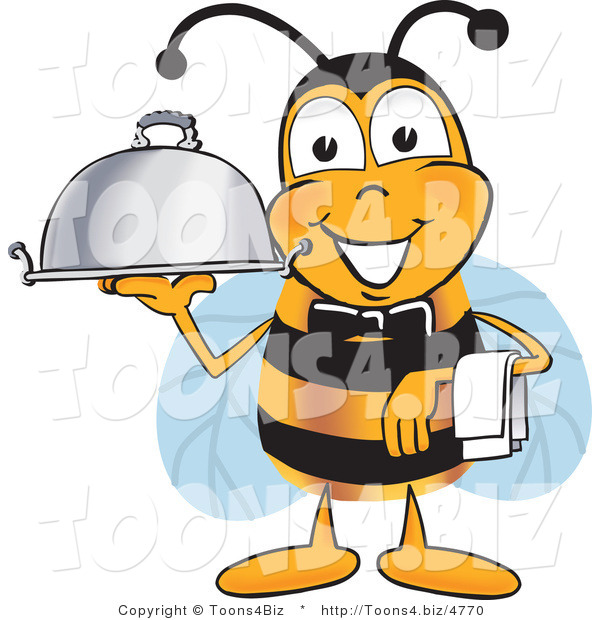 Vector Illustration of a Honey Bee Mascot Dressed As a Servant, Carrying a Food Platter