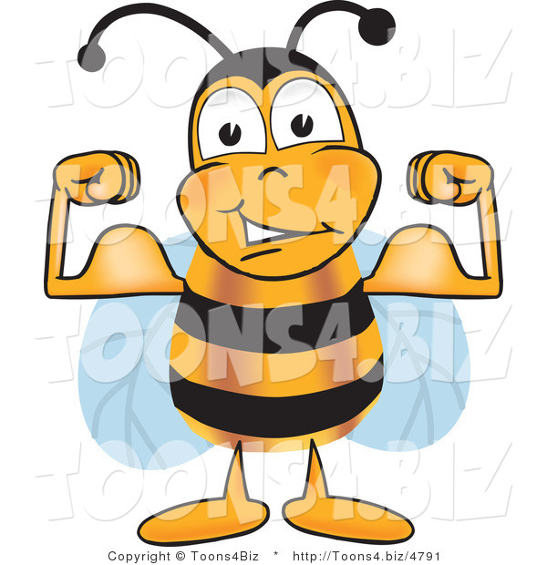 Vector Illustration of a Honey Bee Mascot Flexing His Arm Muscles