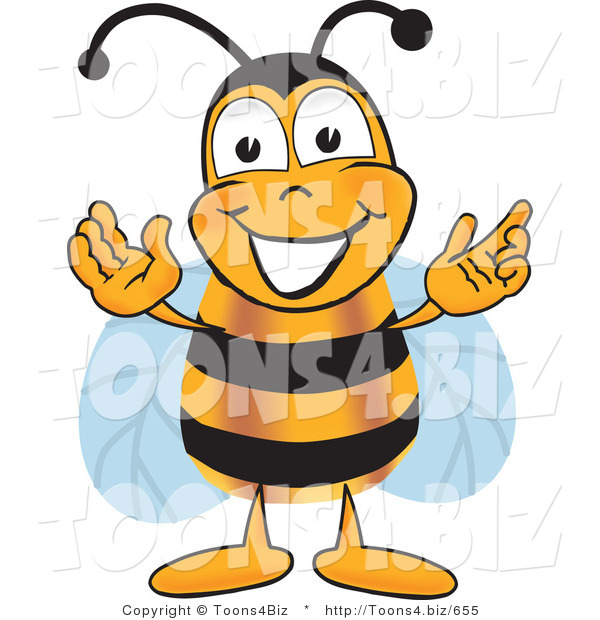 Vector Illustration of a Honey Bee Mascot Greeting with Open Arms