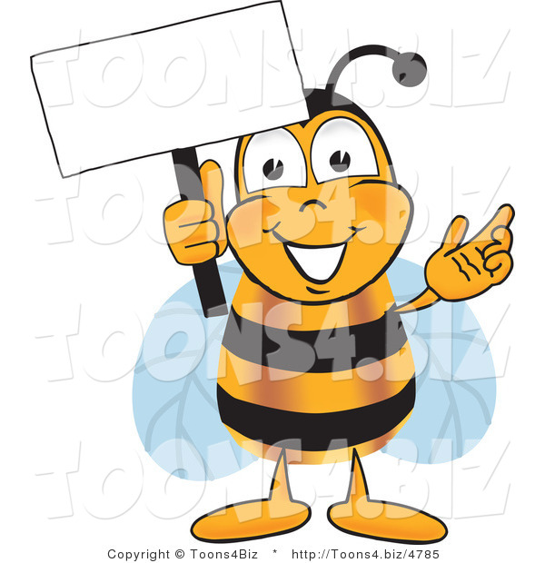 Vector Illustration of a Honey Bee Mascot Holding a Blank White Sign