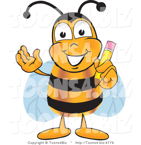Vector Illustration of a Honey Bee Mascot Holding a Pencil