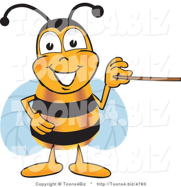 Vector Illustration of a Honey Bee Mascot Holding a Pointer Stick
