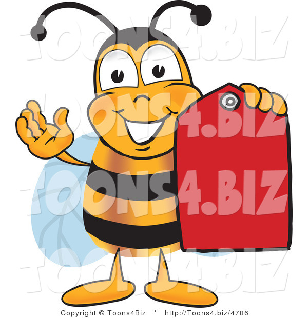 Vector Illustration of a Honey Bee Mascot Holding a Red Clearance Sales Tag
