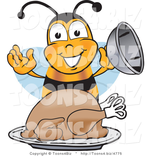 Vector Illustration of a Honey Bee Mascot Holding the Lid to a Platter with a Thanksgiving Turkey on It