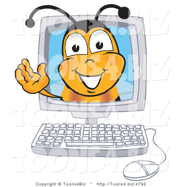 Vector Illustration of a Honey Bee Mascot in a Computer Monitor, Waving