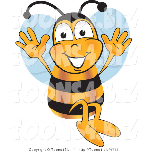 Vector Illustration of a Honey Bee Mascot Jumping with His Arms up