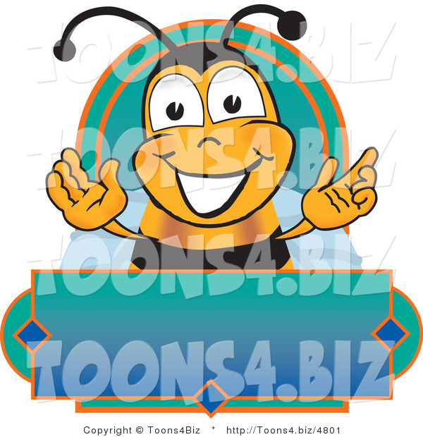 Vector Illustration of a Honey Bee Mascot on a Blank Blue and Green Label