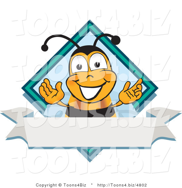Vector Illustration of a Honey Bee Mascot on a Blank White Label