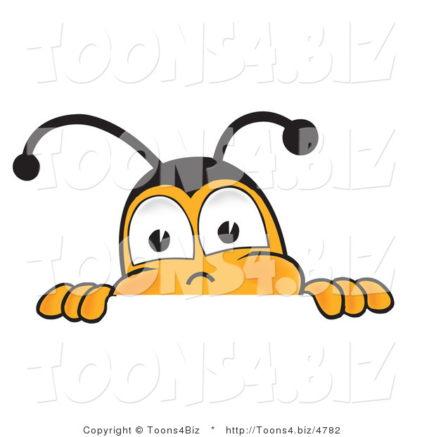 Vector Illustration of a Honey Bee Mascot Peeking over a Horizontal Surface