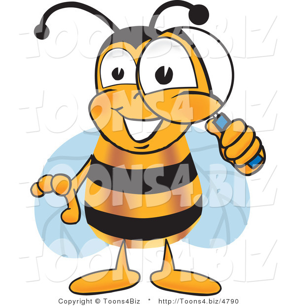 Vector Illustration of a Honey Bee Mascot Peeking Through a Magnifying Glass