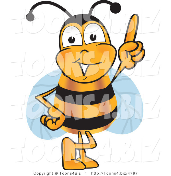 Vector Illustration of a Honey Bee Mascot Pointing Upwards