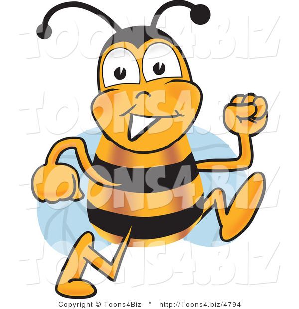 Vector Illustration of a Honey Bee Mascot Running