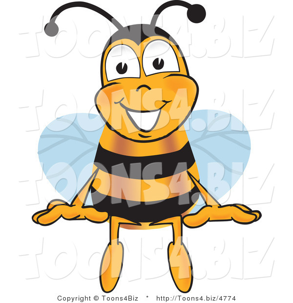 Vector Illustration of a Honey Bee Mascot Sitting