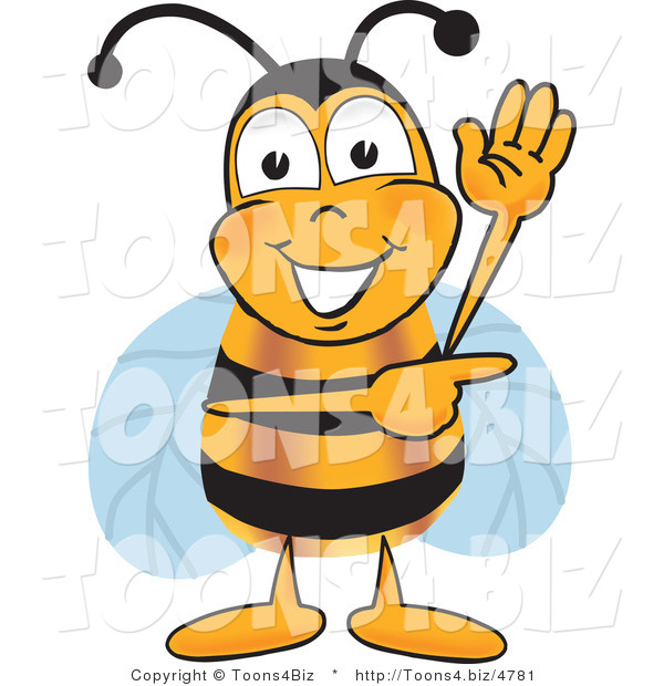 Vector Illustration of a Honey Bee Mascot Waving and Pointing to the Right