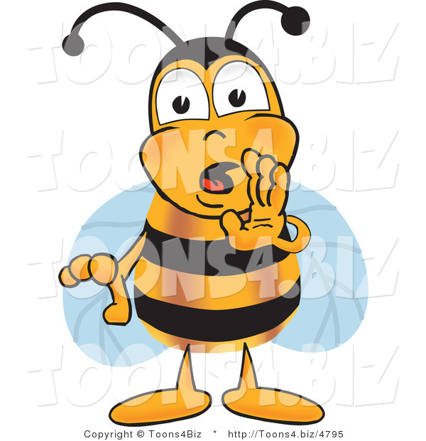 Vector Illustration of a Honey Bee Mascot Whispering and Gossiping