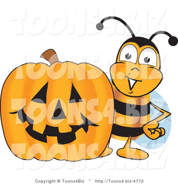 Vector Illustration of a Honey Bee Mascot with a Carved Halloween Pumpkin