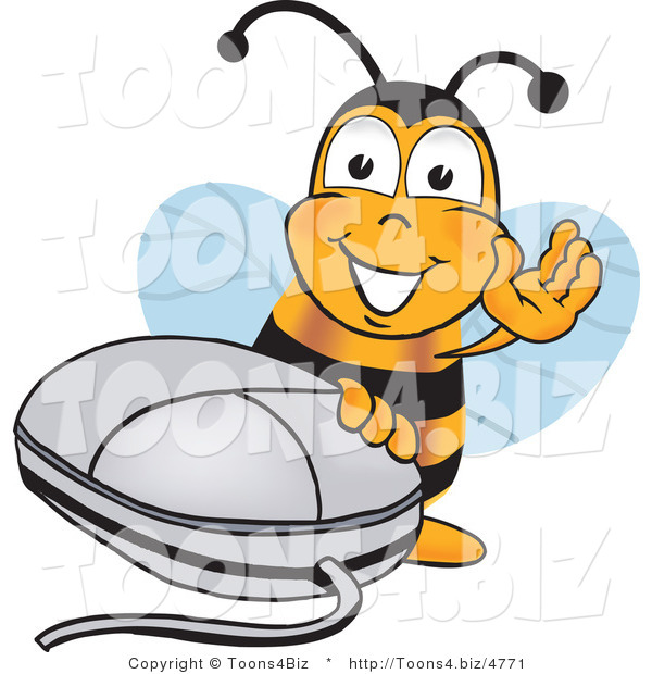 Vector Illustration of a Honey Bee Mascot with a Computer Mouse