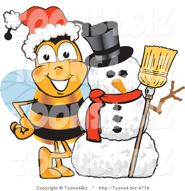 Vector Illustration of a Honey Bee Mascot with a Snowman on Christmas