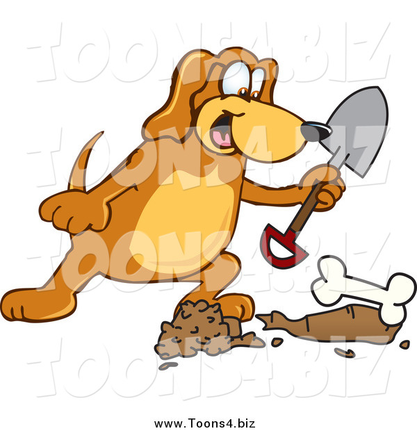 Vector Illustration of a Hound Dog Burying a BoneHound Dog Burying a Bone