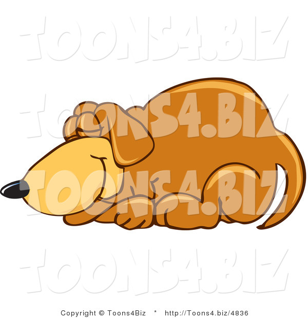Vector Illustration of a Hound Dog Mascot Curled up and Sleeping