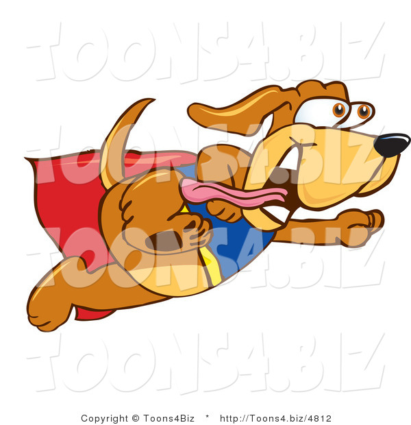Vector Illustration of a Hound Dog Mascot Dressed As a Super Hero, Flying