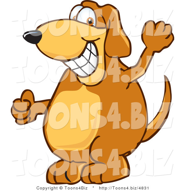 Vector Illustration of a Hound Dog Mascot Grinning