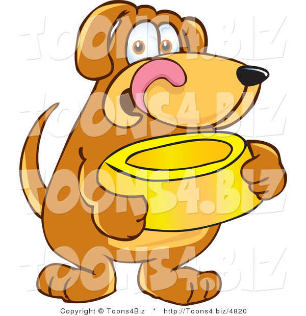 Vector Illustration of a Hound Dog Mascot Holding a Food Dish, Waiting to Be Fed
