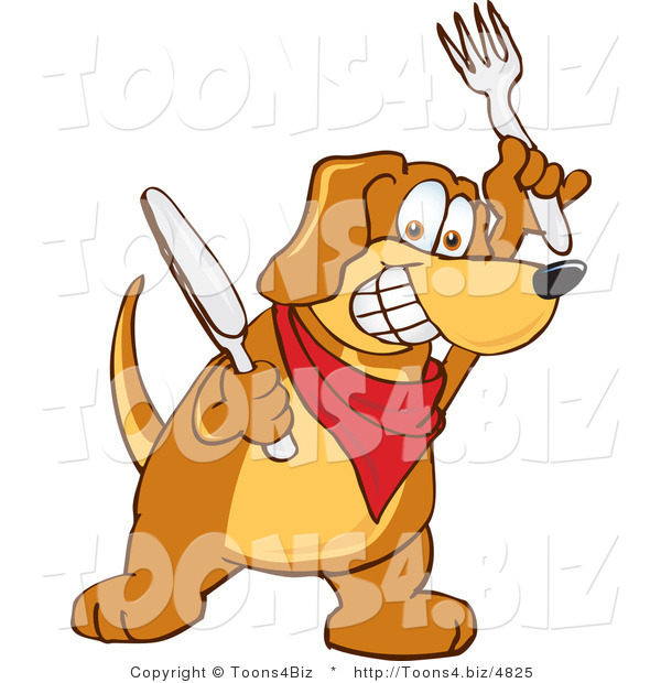 Vector Illustration of a Hound Dog Mascot Holding a Knife and Fork, Extremely Hungry