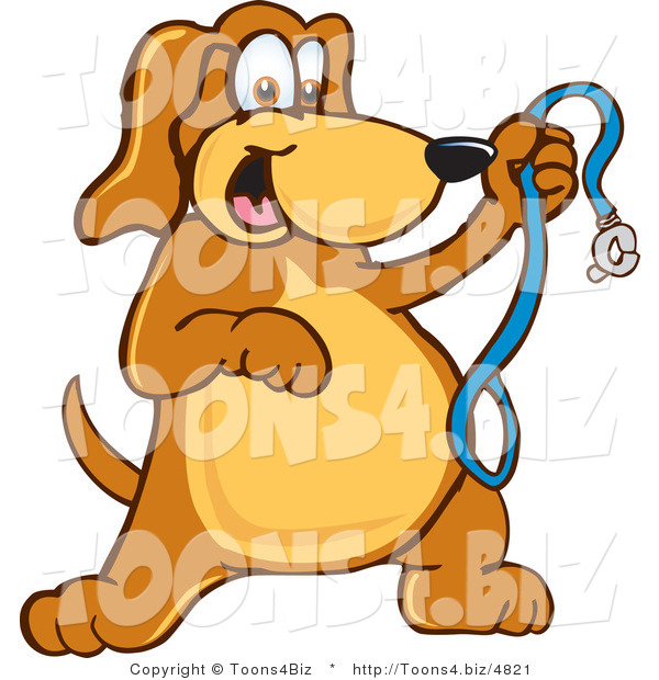 Vector Illustration of a Hound Dog Mascot Holding a Leash, Ready for a Walk