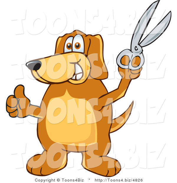Vector Illustration of a Hound Dog Mascot Holding a Pair of Scissors