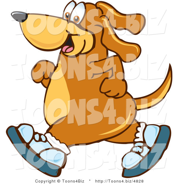 Vector Illustration of a Hound Dog Mascot Wearing Tennis Shoes and Taking a Walk