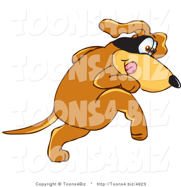 Vector Illustration of a Hound Dog Mascot with a Mask over His Eyes, Being Sneaky