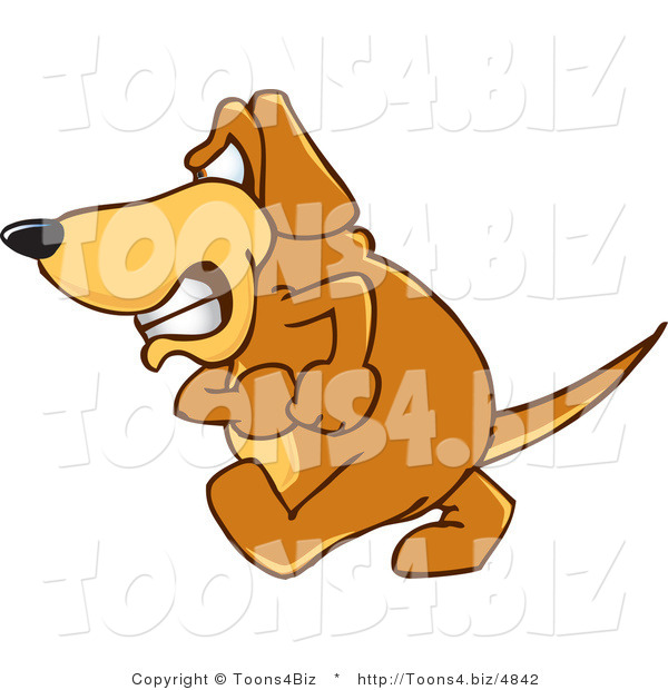 Vector Illustration of a Hound Dog Mascot with an Angry Grumpy Expression