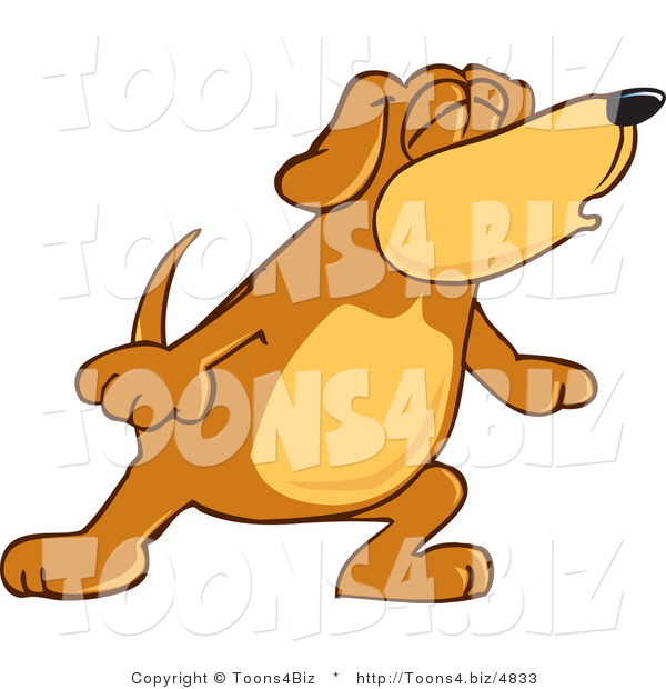 Vector Illustration of a Hound Dog Mascot with Closed Eyes, Singing or Howling