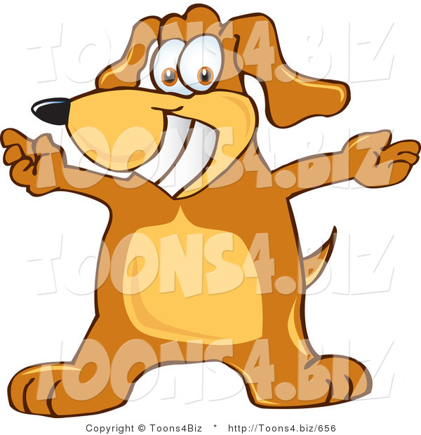 Vector Illustration of a Hound Dog Mascot with Open Arms