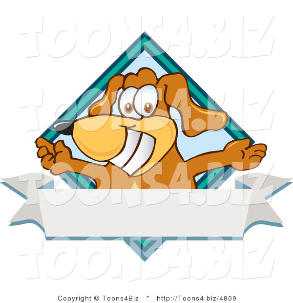 Vector Illustration of a Hound Dog Mascot with Open Arms over a Blank White Label