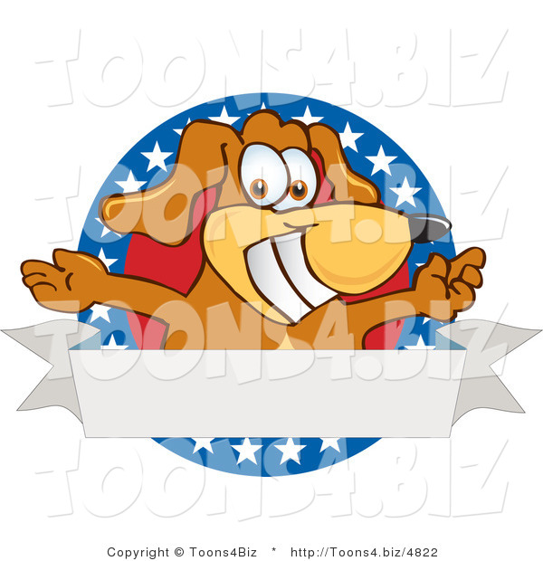 Vector Illustration of a Hound Dog Mascot with Open Arms with a Blank Label
