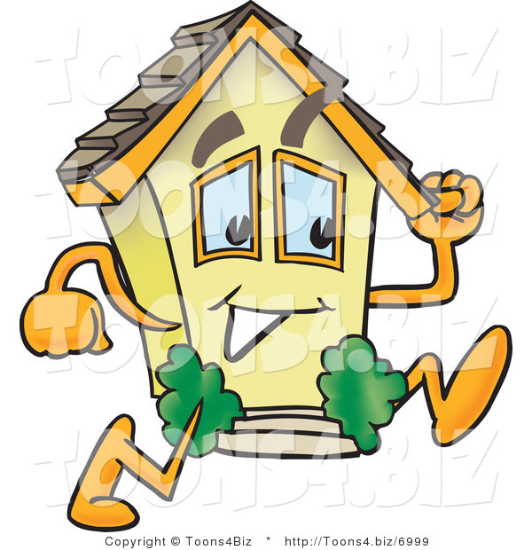 Vector Illustration of a Mobile Cartoon Home Mascot Running Fast