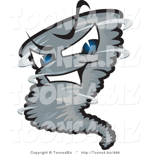 Vector Illustration of a Powerful Cartoon Tornado Mascot