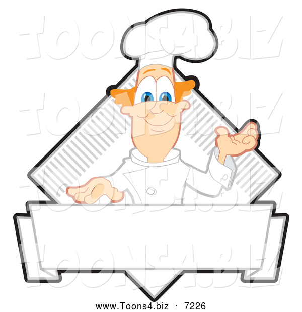 Vector Illustration of a Presenting Red Haired Chef Logo or Sign