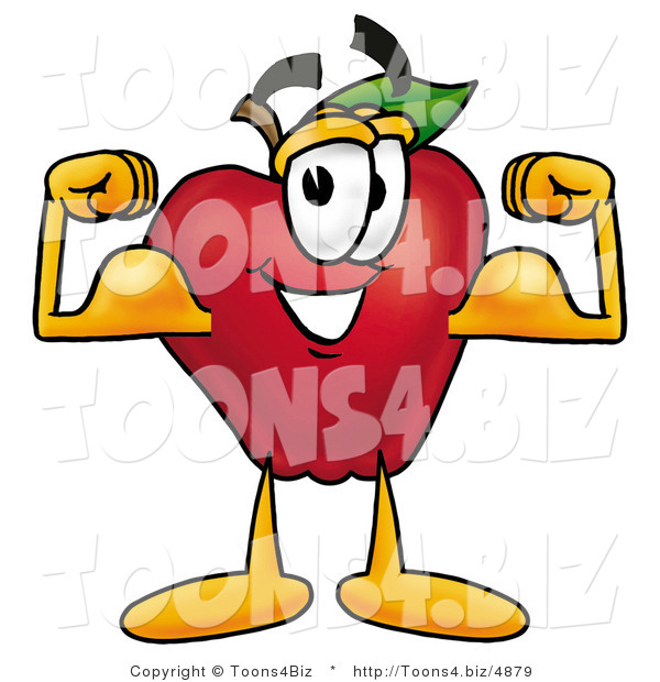 Vector Illustration of a Red Apple Mascot Flexing His Arm Bicep Muscles